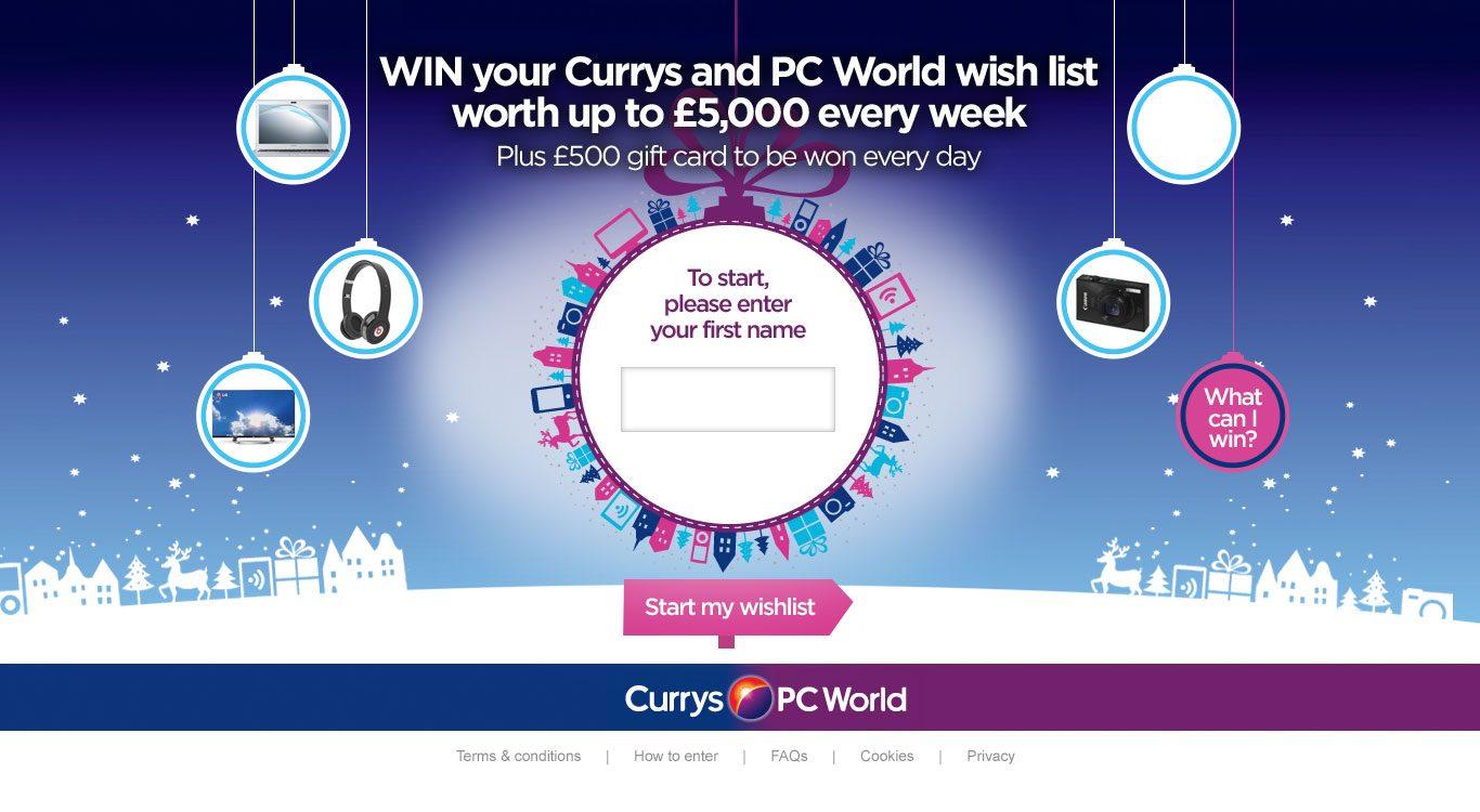 Win Currys PC World Wish List