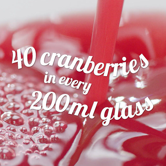 40 cranberries in every 200ml glass